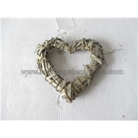 wood wicker heart ring