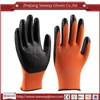 SeeWay 702 Orange Foam Nitrile gloves palm Nitrile embossing gloves