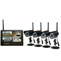 Wireless Digital 4ch DVR Infrared Security Camera System with 7'' LCD Monitor