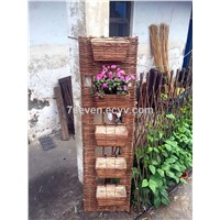 Willow planter with willow panel/willow basket on willow panel