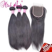 Wholesale 10A Grade Hair Mink Hair Weave Lace Closure 100% Human Hair Brazilian Hair Silky Straight