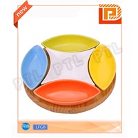 colorful food holder with 5-piece ceramic bowls plus wooden stand