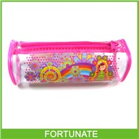 Cylindrical PVC Pencil Bag for Stationery