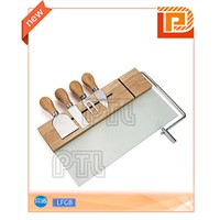 Magnetic glass-and-wood wire chopping board with S/S cheese knife/fork/spatula