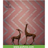Natural wallpaper Non-Woven Wallcoverings with High Tech Laser Engraver