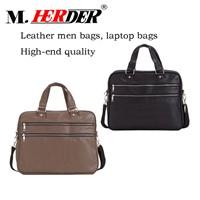 Classic Zipper Pocket Laptop Handbag Leather Briefcase Bag