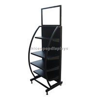 5-Layer Metal Wire DVD Display Rack Movable, Iron CD DVD Display Rack Free Standing