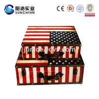 Antique Wooden Storage Suitcase with Flags Styles (SCSC00024)