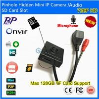 Audio&Video Super Mini Onvif IP camera 720P HD Indoor Security Pinhole 3.7mm Lens SD Card Slot P2P