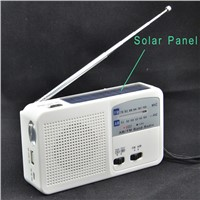 Hand crank dynamo winding rechargeable solar flashlight power bank usb charger  fm am radio