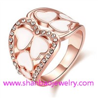 Shanbao Imitation Jewelry Gold Plated Costume Fashion Zircon Jewelry Rings
