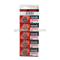 Blister Card Package 5pcs pack Maxell CR2016 Lithium Button Battery