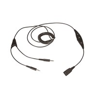 M002P/ M002G Ubeida Coiled Quick Disconnect (QD) PC Cord with  Volume Controller and Mute