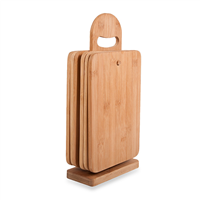Thick Bamboo Chopping Block Cutting Board with Support Holder