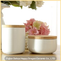 White Ceramic Candle Container with Wood lid