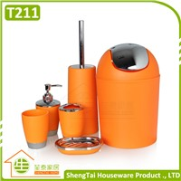 hotel cheap plastic bathroom accessories sets with swing trash bin