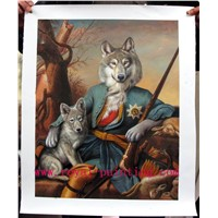 Wolf in human clothing oil painting reproduction customized artworks