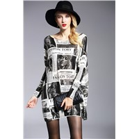 LATIKA Women Baggy Newspaper Print Knit Pullover Dress Onesize