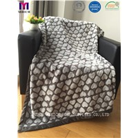 Hot Sale Heart Pattern Soft Poly Fleece Blankets