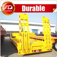 Heavy duty 3 axle low bed trailer lowbed semi trailer , 60 ton to 100 tons low loader truck trailer