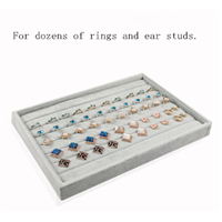 Silver Velvet Liner Blue Stone Finger Ring and Earring Display Tray