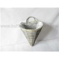 wall hanging willow plant basket with fabric lining