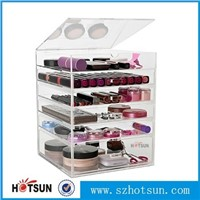 acrylic lucite makeup organizer/acrylic makeup display box/acrylic makeup organizer with drawer