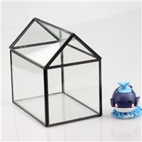House Shaped Metal Frame Glass Terrarium Home Decoration Glass Vase Business Promotion Glass Gift