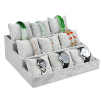 Jewellery Display Tray with Small Velours Pillows for Bracelets and Watches