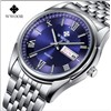 Day Date Stainless Steel Luminous Hour Clock Male Casual Quartz Watch Men