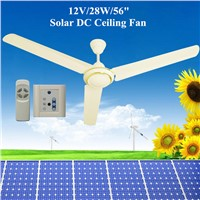 "10 Years Life 350rpm 56"" Solar Powered DC12V Ceiling Fan with BLDC Motor Best for solar system"