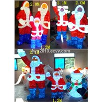 H:2.1M W:1.3M LED Santa Claus and snowmans Christmas lighting