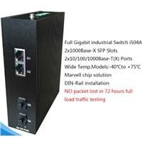 4 Ports Full Gigabit Unmanaged Industrial Ethernet Switches 2 RJ45 Ports+ 2 SFP Slots I504A