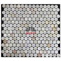 round wall panel shell mosaic mirror tile