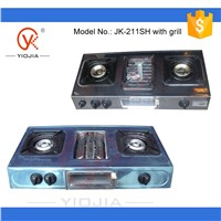 Stainless steel two burner  gas stove with grill with brass burner