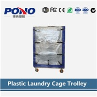 China wholesale good price multi-tier plastic laundry cage trolley with panels with larger capacity