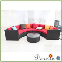 All weather outdoor garden used rattan wicker half moon sofa