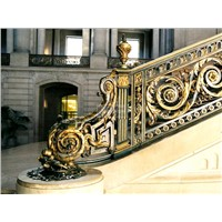 Luxurious golden wrought iron stairs railing HT-9S1002