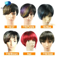 Machine Made Ombre Brazilian Short Wigs Human Hair Party Bob Wigs For Women