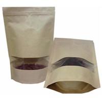 stand up pouch bag kraft paper / zipper tea packaging paper pouch