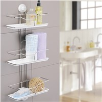 3-tier bathroom wall shelf with suction cup