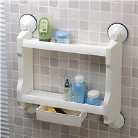 suction cup with drawer 2 tier bathroom water bottle plastic storage rack