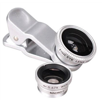Silver 3 in 1 Clip-On Fisheye Lens,0.67x Wide Angle 10x Macro Mobile Phone Camera,Free Logo