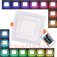 Ultra Slim Embeded Square RGB LED Panel Light 6W 9W 18W 24W Dual Double Color RGB And White