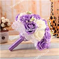 Handmade Silk Flowers Wedding Brooch Bouquets Valentine's Day wedding gift soap flower bouquet