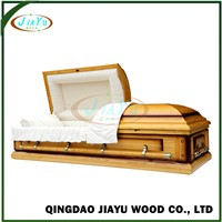 Wholesale US Style Chinese Wooden Casket with Bed Wood Coffin