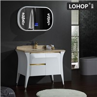 New style solid wood bathroom cabinet with bluetooth music player and natural marble countertop