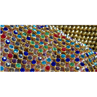 Rhinestone Metallic Cloth/Crystal Metallic Cloth