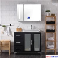 New Style Multilayer Solid Wood Bathroom Vanity with Bluetooth Music Player & Lamp Mirror