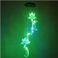 Moon & Star LED Solar Wind Chime Nigh Light with Colors Changing